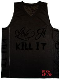 #67 Rich Piana Love It Kill It - Basketball Jersey (Blacked Out/Red)